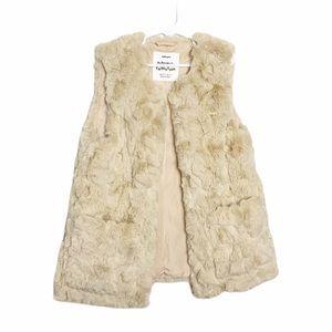 Zara Girls Faux Fur Vest Beige Size 9/10